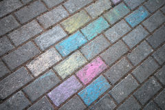 Chalk painted road pavement Royalty Free Stock Photo