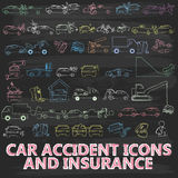 Chalk Painting About Icon Car Insurance Stock Images