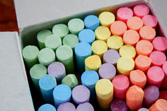 Chalk. Pastel colored chalk sticks in box Royalty Free Stock Photo