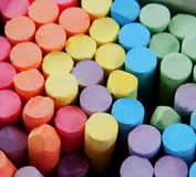 Chalk. Pastel colored chalk sticks in box Stock Photos