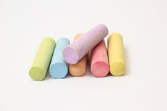 Chalk. Pastel colored chalk sticks on a white background Royalty Free Stock Images