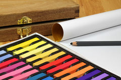 Chalk pastel set and tools Stock Image