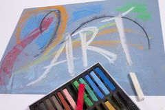 Chalk pastels with word Art Stock Photo