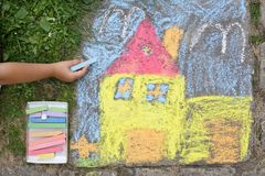 Chalk picture. Paiting on concrete Stock Photo