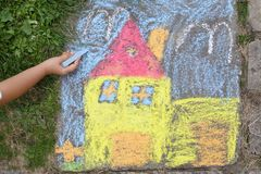 Chalk picture. Paiting on concrete Stock Photography