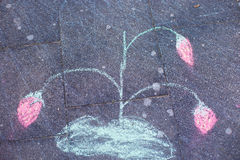 Chalk picture, child`s picture,strawberry Royalty Free Stock Photo