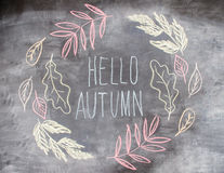 Chalk picture hello autumn Stock Photos