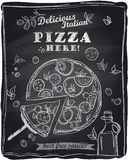 Chalk pizza with the cut off slice. Stock Photography