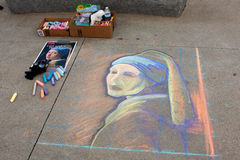 Chalk Portrait Covers Sidewalk At Atlanta Festival Royalty Free Stock Image