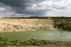 Chalk quarry filled with water in Belarus. Stock Photo