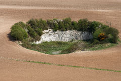 Chalk quarry on South Downs, East Sussex Stock Photo
