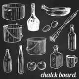 Chalk restaurant and kitchen related symbols . Royalty Free Stock Image