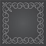 Chalk retro graphic line elements, dividers and monogram frame on a blackboard, Stock Photography