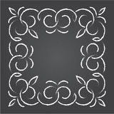 Chalk retro graphic line elements, dividers and monogram frame on a blackboard, Stock Images