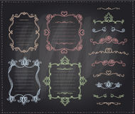Chalk retro graphic line elements, dividers and monogram frames set Royalty Free Stock Photo