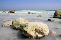 Chalk-rocks. White rocks in the water, at sea Stock Photo