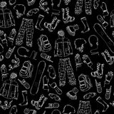 Chalk seamless snowboard gear pattern. Royalty Free Stock Photography