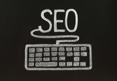 Chalk SEO concept with keyboard Royalty Free Stock Photo