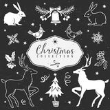 Chalk set of decorative christmas festive illustrations. Royalty Free Stock Photos