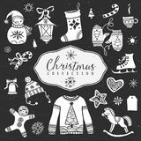 Chalk set of decorative christmas festive illustrations. Royalty Free Stock Images