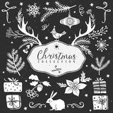 Chalk set of decorative christmas festive illustrations. Chalk set of decorative festive illustrations. Christmas collection. Hand drawn illustration. Design Stock Image