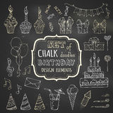 Chalk set of hand-drawn birthday design elements. Stock Images
