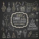 Chalk set of hand-drawn birthday design elements.