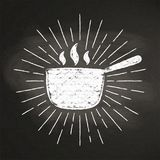 Chalk silhoutte of hot pot  with vintage sun rays on blackboard. Royalty Free Stock Photo