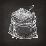 Chalk sketch of bag of flour. Bag of flour with scoop. Chalk sketch on blackboard. Hand drawn vector illustration. Retro style stock illustration