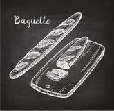Chalk sketch of bagette Stock Image