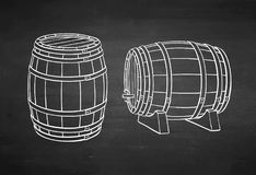 Chalk sketch of barrels. Royalty Free Stock Photos