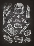 Chalk sketch of breads. Stock Photos