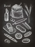 Chalk sketch of breads. Stock Photo