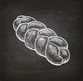 Chalk sketch of challah bread. Royalty Free Stock Photo