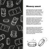Chalk sketch money banner template design. Chalk sketch money banner or poster template design. Vector illustration Royalty Free Stock Photos