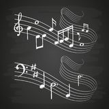 Chalk sketch musical sound wave with music notes on blackboard vector illustration