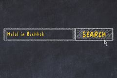 Chalk sketch of search engine. Concept of searching and booking a hotel in Bishkek.  royalty free stock image