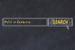 Chalk sketch of search engine. Concept of searching and booking a hotel in Canberra.  stock illustration
