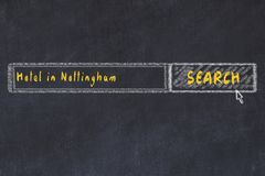 Chalk sketch of search engine. Concept of searching and booking a hotel in Nottingham royalty free illustration