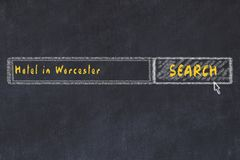 Chalk sketch of search engine. Concept of searching and booking a hotel in Worcester.  stock illustration