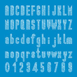 Chalk sketched font design, Alphabet and number vector Royalty Free Stock Photography