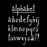 Chalk sketched font, isolated  alphabet letters and signs Royalty Free Stock Image
