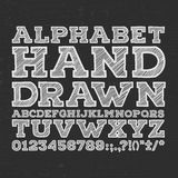 Chalk sketched striped alphabet abc vector font. Type letters, numbers, characters and punctuation marks Royalty Free Stock Photos