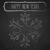 Chalk snowflake frame and New Year greetings Royalty Free Stock Images
