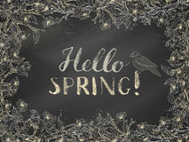 Chalk spring template. Royalty Free Stock Images