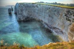 Chalk stacks Old Harry Rocks Dorset England UK east of Studland like a painting Stock Image