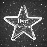 Chalk star on the blackboard background. Greeting card with text Happy New Year Stock Images