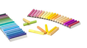 Chalk sticks. Set of pastels in various tones on a white background Royalty Free Stock Photo