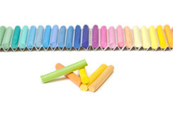 Chalk sticks. Set of pastels in various tones on a white background Royalty Free Stock Image