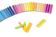 Chalk sticks. Set of pastels in various tones on a white background Stock Photography